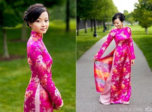 A Vietnamese bride in traditional gown